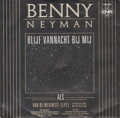 Benny Neyman - Blijf vannacht bij mij + Als (Vinylsingle)