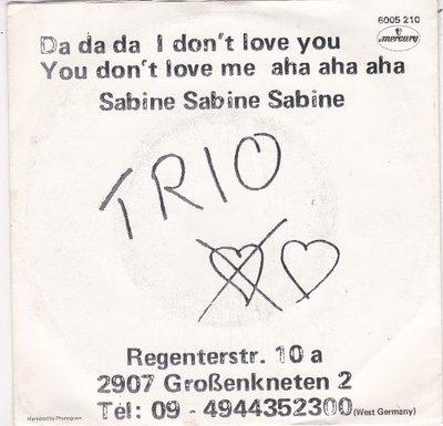 Trio - Da da da + Sabina Sabine Sabine (Vinylsingle)