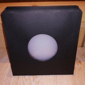 Zwart Papieren Hoezen voor vinylsingles (cellophan voering) - per 100 stuks